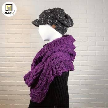 O.MOSA 麻花可機洗時髦造型披肩脖圍(貴氣紫)
