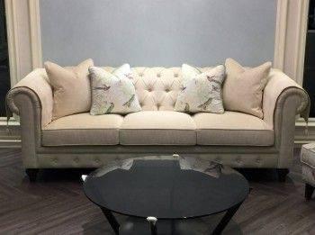 經典拉釦三人沙發
