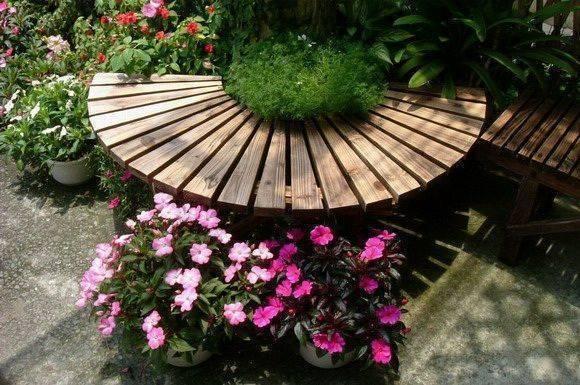 半月型燻木庭園椅