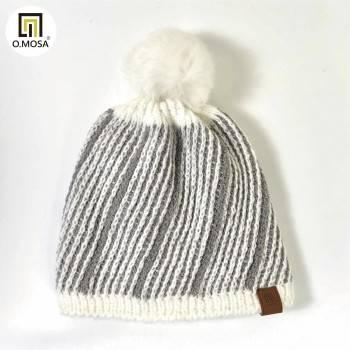 O.MOSA 羊毛斜紋絨球可機洗快乾針織帽(白灰)