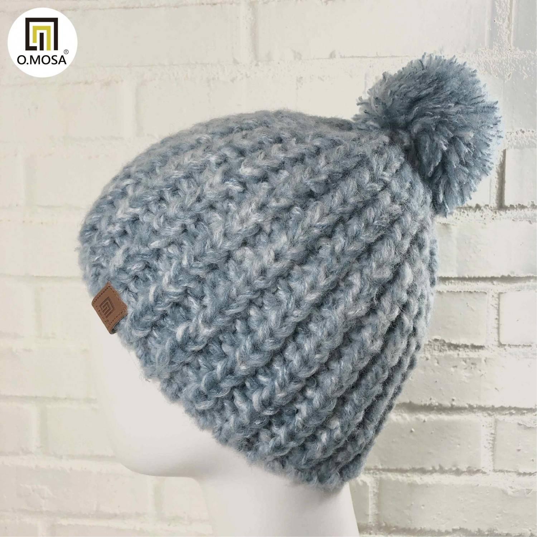 O.MOSA 羊毛粗獷泡泡針漸層毛球針織帽(淺單寧白)
