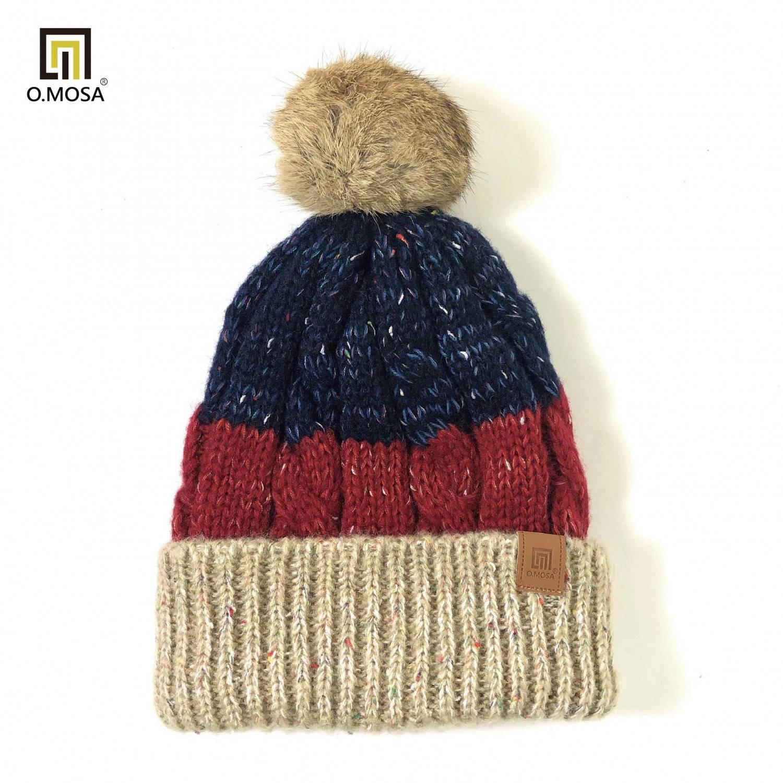 O.MOSA 毛海多彩緞染顆粒條段絨球可機洗針織帽(卡紅藍)