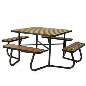 塑木方形野餐桌椅組-咖色