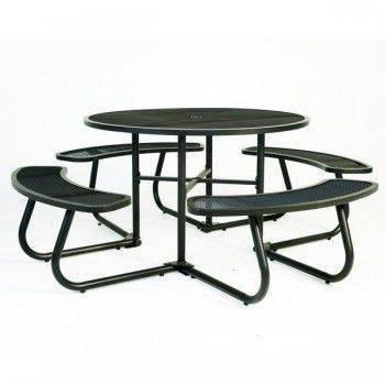 鐵網圓形野餐桌椅組-咖色