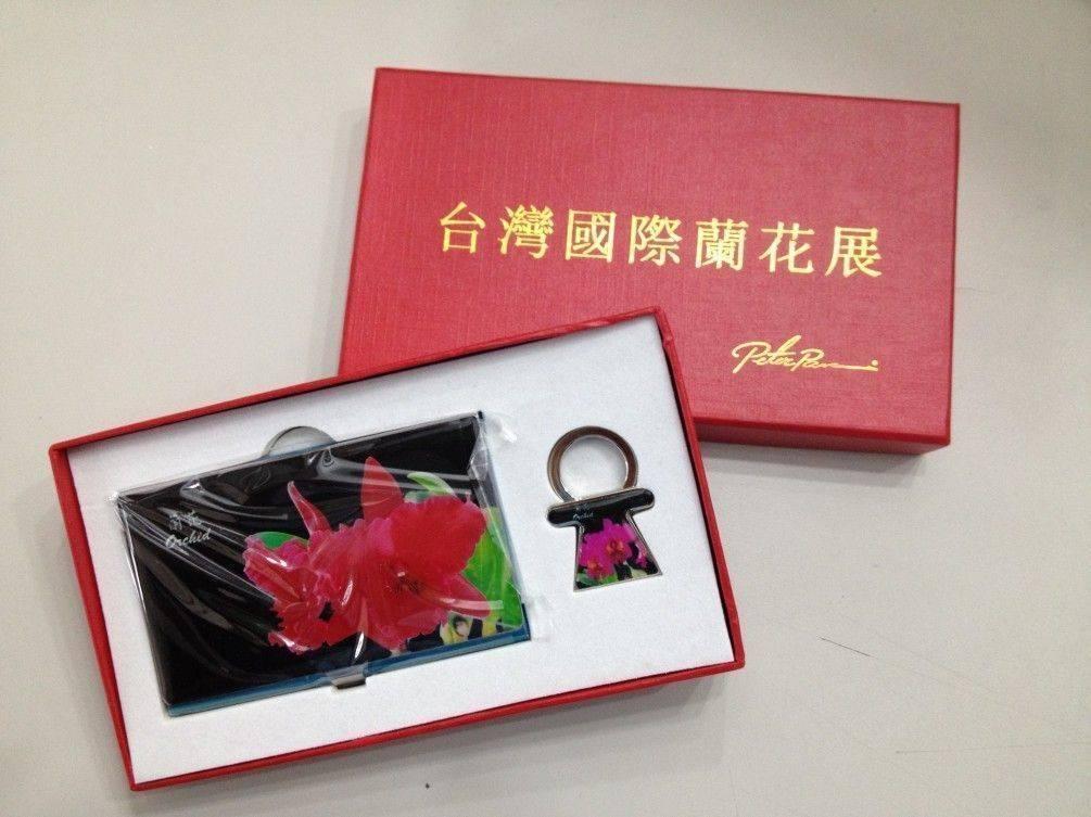 紅蘭花名片盒加鑰匙扣