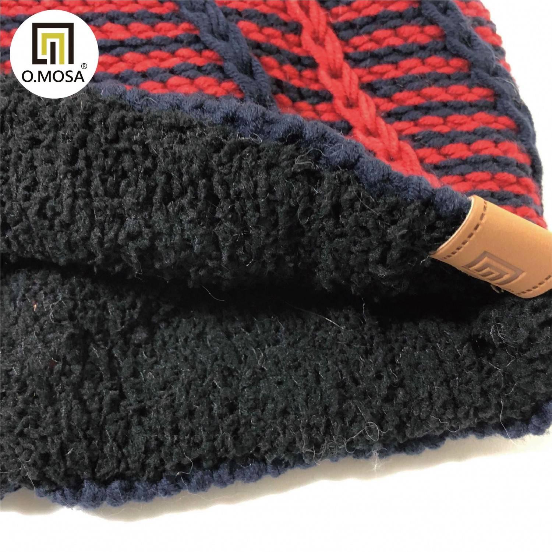 O.MOSA 手鉤鍊條紋絨球耐磨抗起球可機洗針織帽(深藍紅)