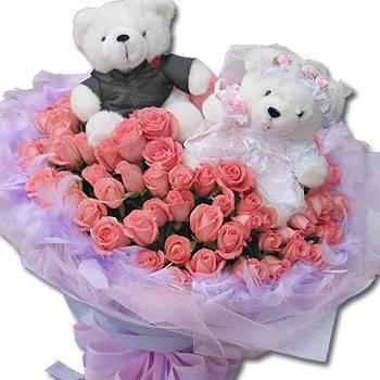 《結婚進行曲》婚侶熊99朵粉玫瑰花束