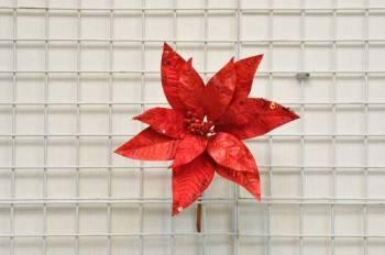 紅色聖誕花圓型亮片