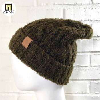 O.MOSA 羊毛雙色圈圈快乾可機洗針織帽(砂石咖紅)