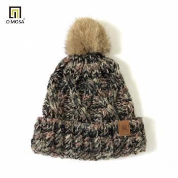 O.MOSA 羊毛多彩絨球針織帽(多彩卡粉)
