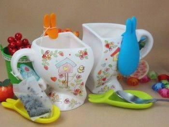 Lohogo 彩色兔子耳朵分杯器/茶包掛/茶包盤/湯匙盤-1入