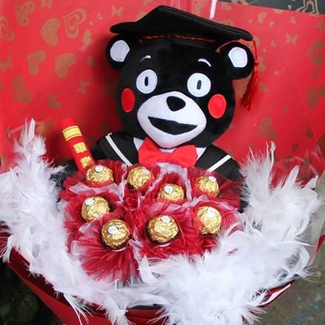 《畢業一路發》12吋畢業熊+8朵金莎花畢業花束