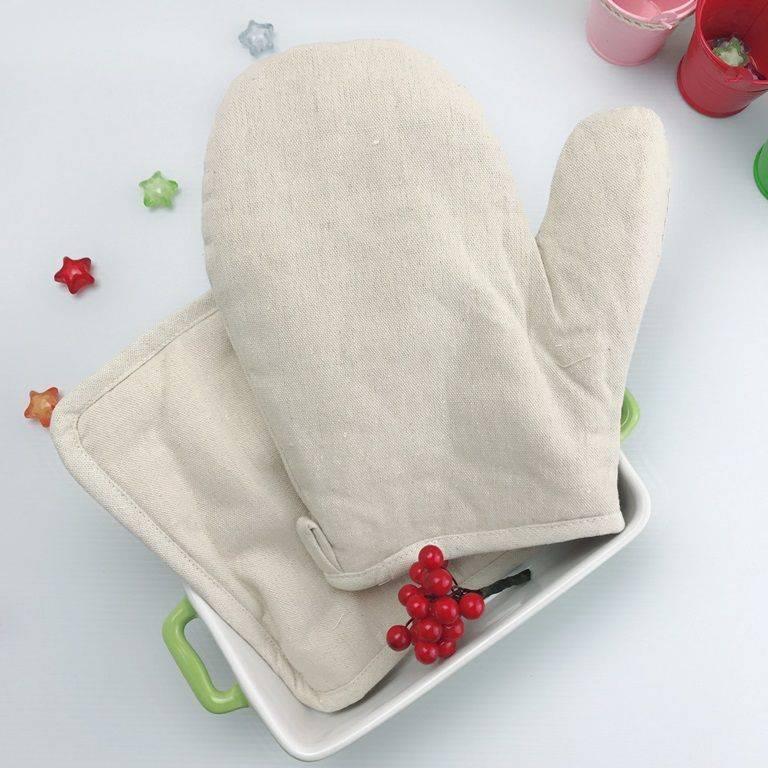 Zakka 純天然棉麻原色廚房防燙隔熱用品兩件套/棉麻布藝微波爐烤箱隔熱手套+隔熱墊 -1入