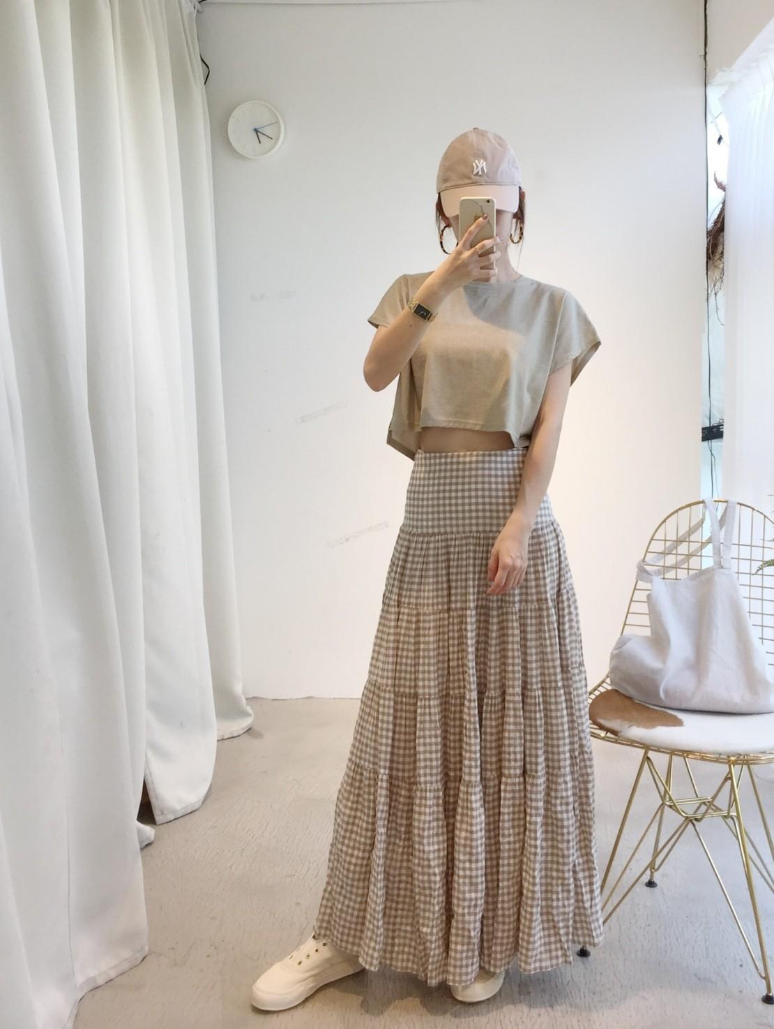 MAY_5253 韓 二色格紋落地麻料長裙#07028811(預購-杏、黑)