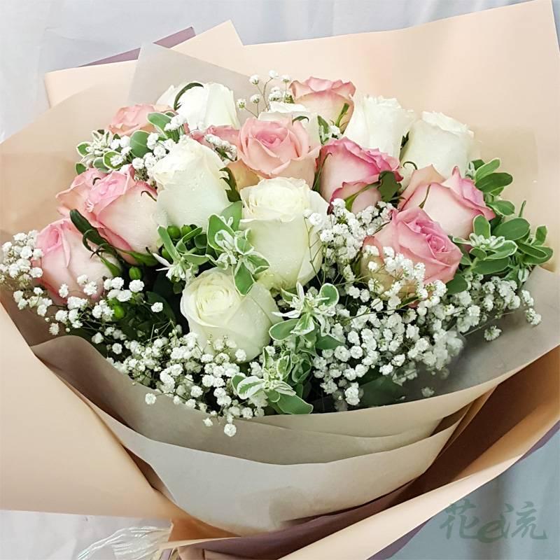 《含情脈脈》情人節進口大朵玫瑰花束