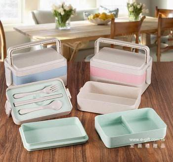 【E-gift】小麥雙層三層便當盒(粉/藍/綠)