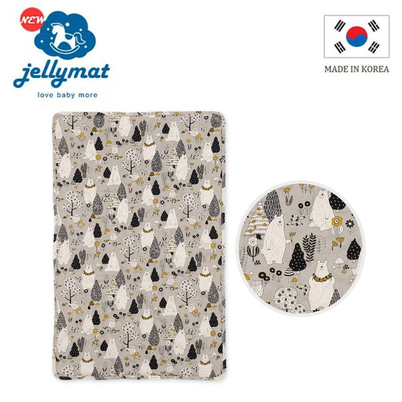 【韓國jellymat】全新微顆粒酷涼珠 100%純棉果凍床墊-白熊愛旅行