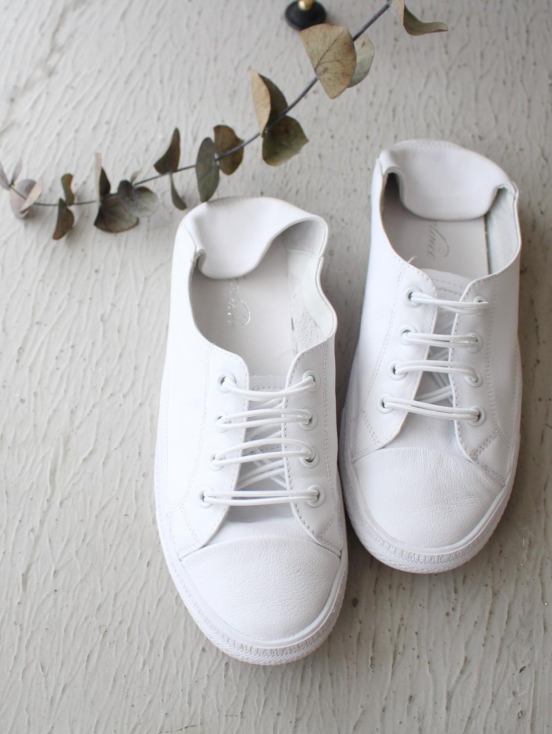 MAY_5253 韓 夏天白色皮革綁帶便鞋 #07026602(預購-白)