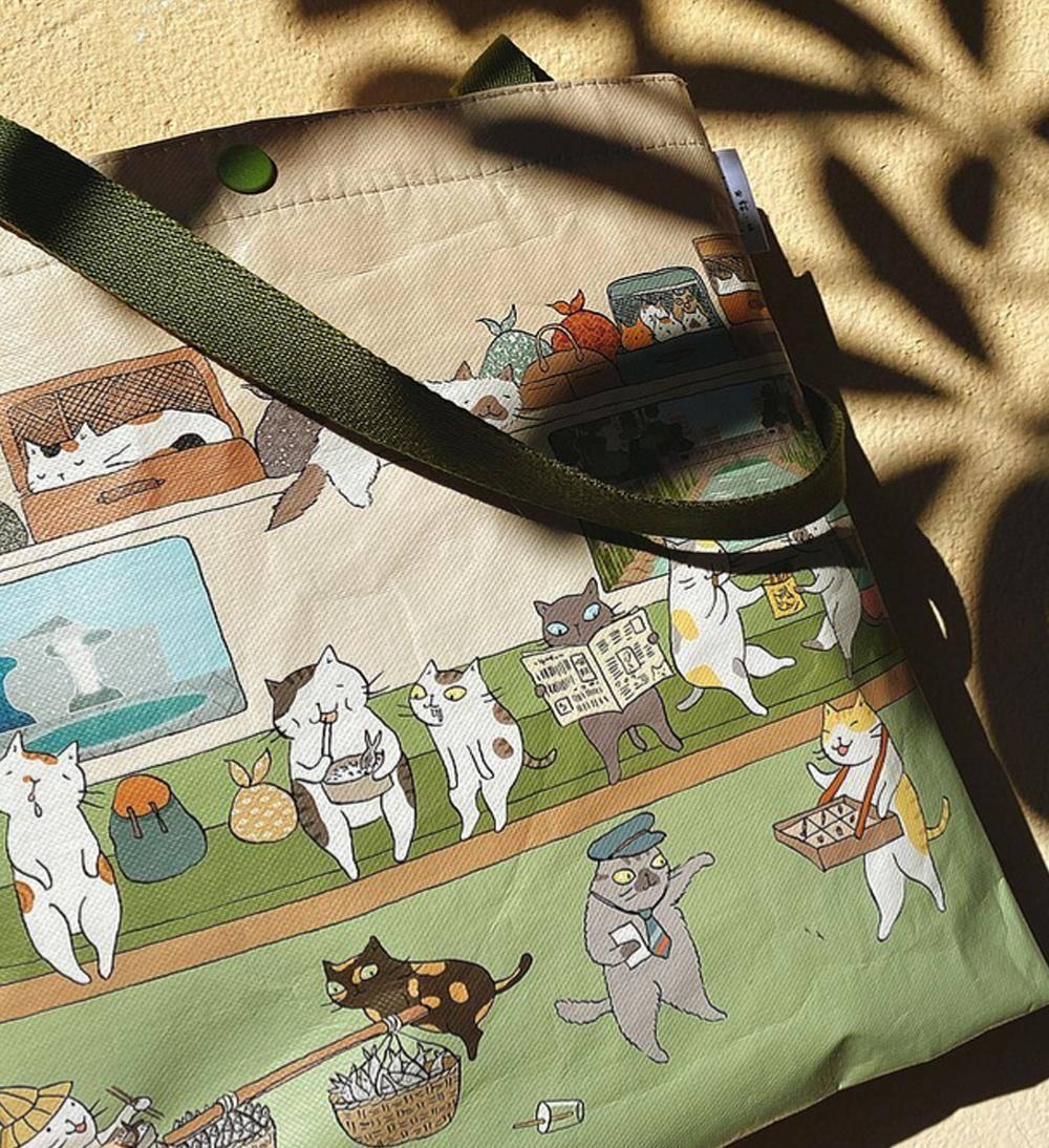 【Greenyoyo】貓小姐Ms.Cat-學院風側背袋_搭上前往臺中的貓列車