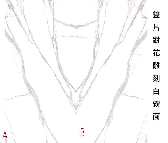 薄板大理石 大尺寸 【2-A雙片對花雕刻白(霧面)】120*240*0.6#地面 #牆面 #檯面 #桌面#電視牆#商業設計#二個版面隨機651