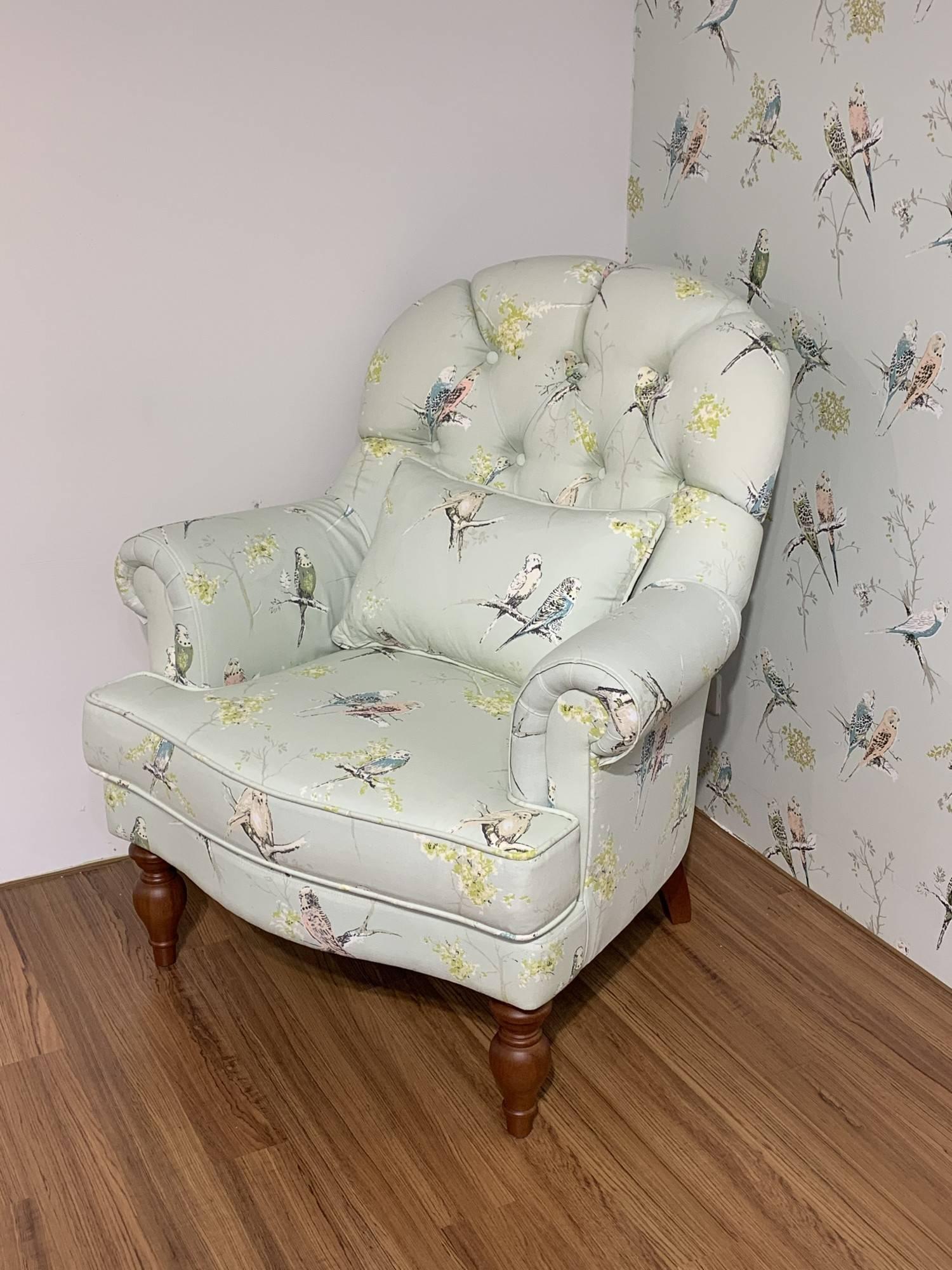 安妮花鳥公主椅+腳椅
