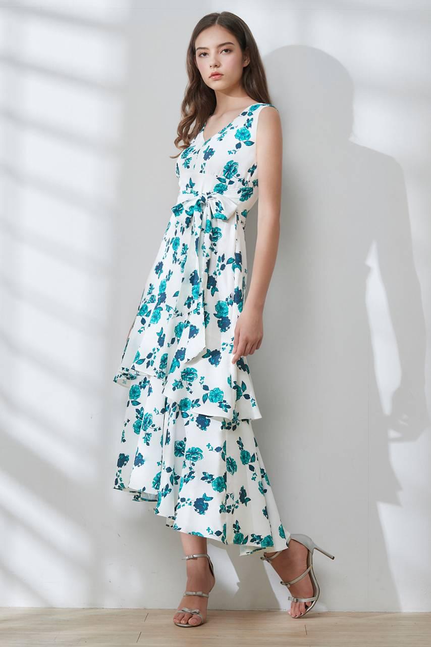 V領印花綁帶長洋裝【Y60-5837】
