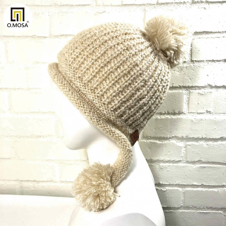 O.MOSA 秘魯羊駝毛玉米泡泡針造型毛球可機洗針織帽(奶油白)
