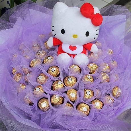 《漂亮寶貝》代購kitty玩偶+50朵金莎花束