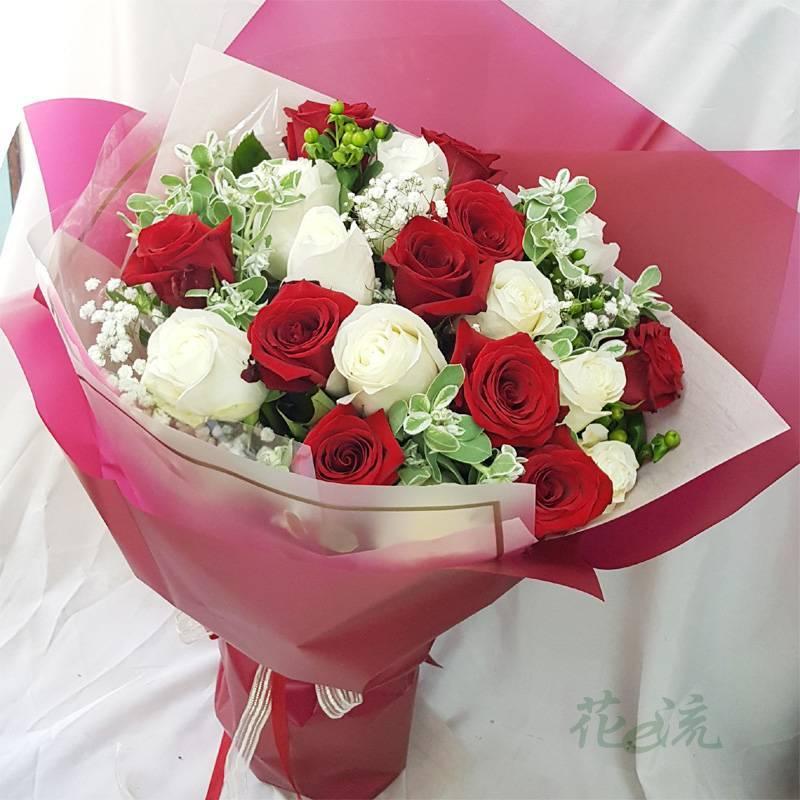 《兩情相悅》20朵進口大朵玫瑰花束