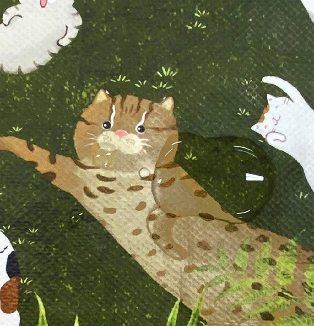【Greenyoyo】貓小姐Ms.Cat-萬用收納袋(中)_石虎與貓的森林遊戲