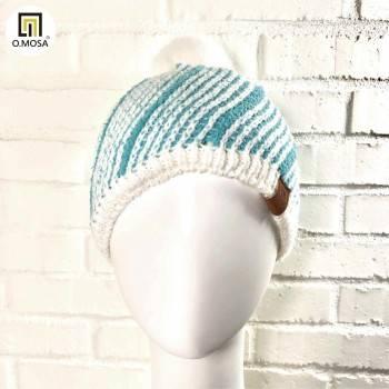 O.MOSA 羊毛斜紋絨球可機洗快乾針織帽(白湖綠)