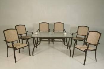 摩卡玻璃餐桌椅組