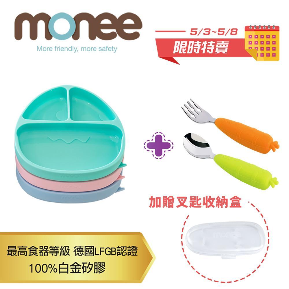 【促銷組合】【韓國monee】 恐龍造型可吸式餐盤一入+不沾桌叉匙組