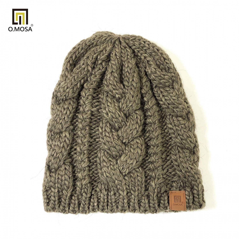 O.MOSA 秘魯羊駝毛大麻花手鉤針織帽(氣質駝)