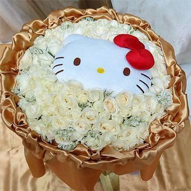 《純真愛人》代購卡通明星kitty玩偶+99朵翡翠白玫瑰花束