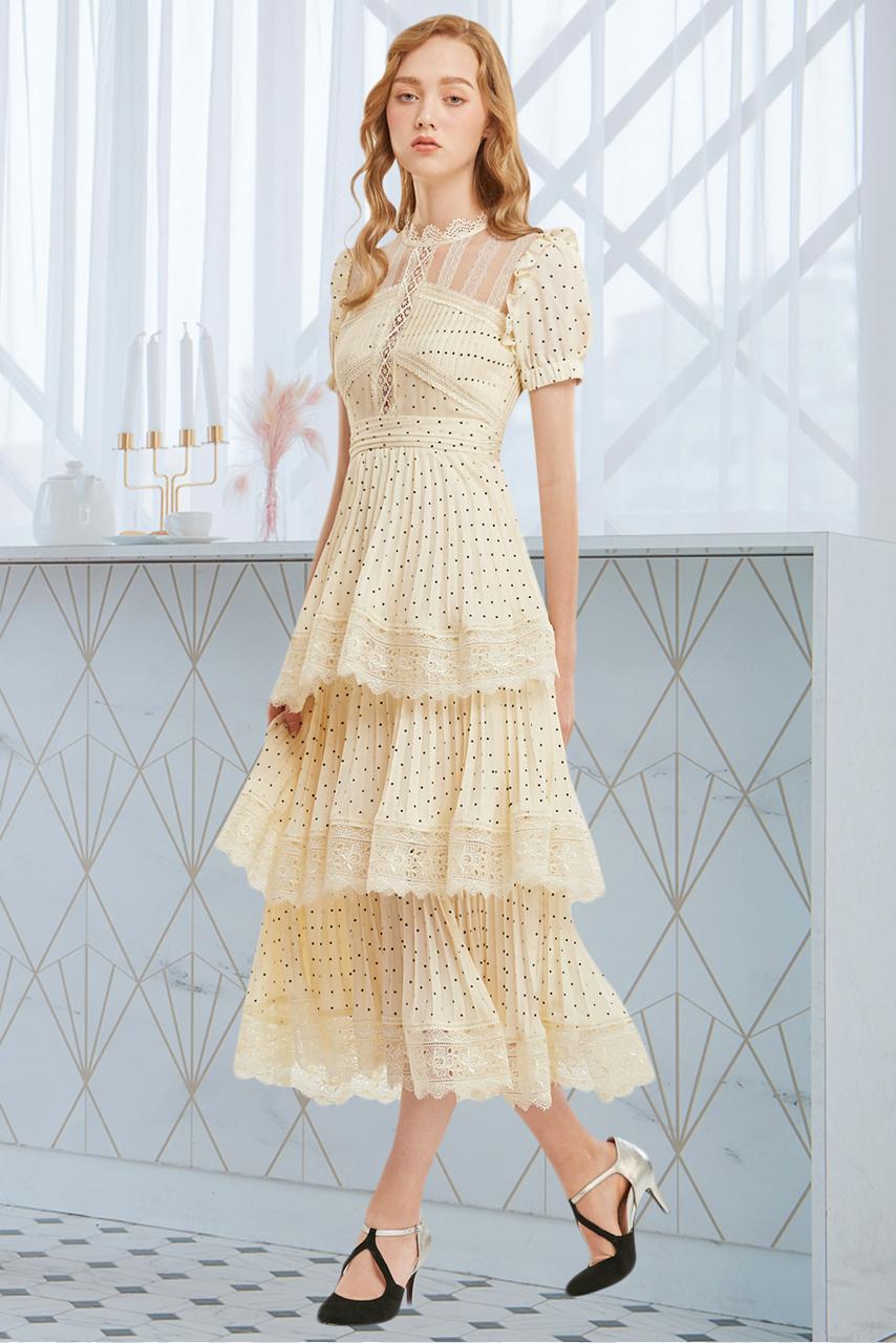 點點蕾絲拼接百褶蛋糕裙長洋裝【Y60-6882】