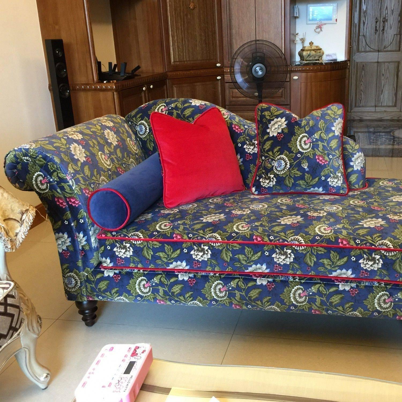 托尼基彩繪絲絨貴妃椅
