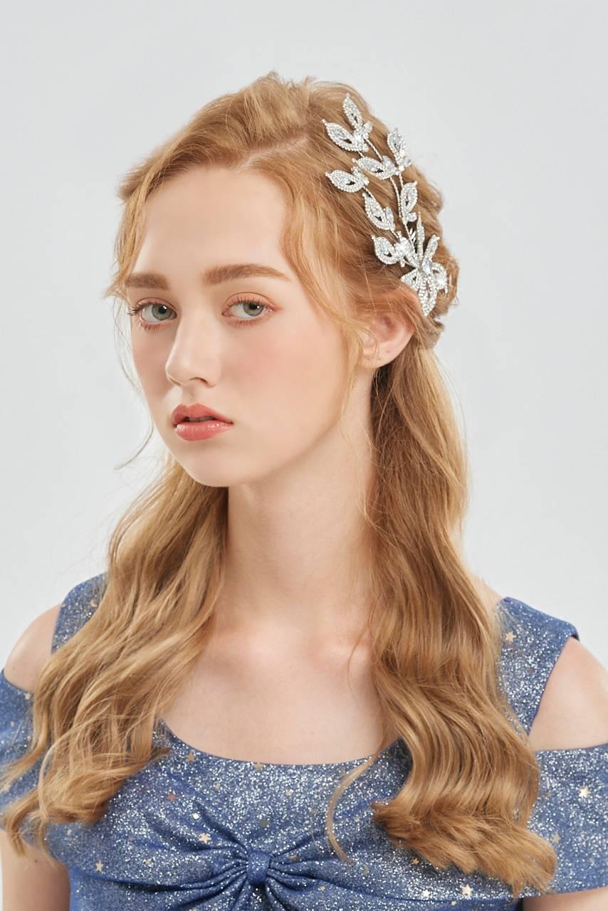 花朵亮鑽軟鋼新秘絲髮叉頭飾髮飾【20-HC3001】