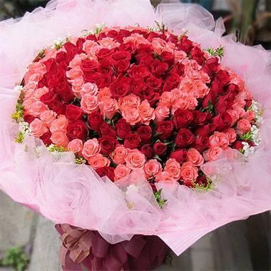 《圓‧緣》199朵雙色圓心玫瑰花束