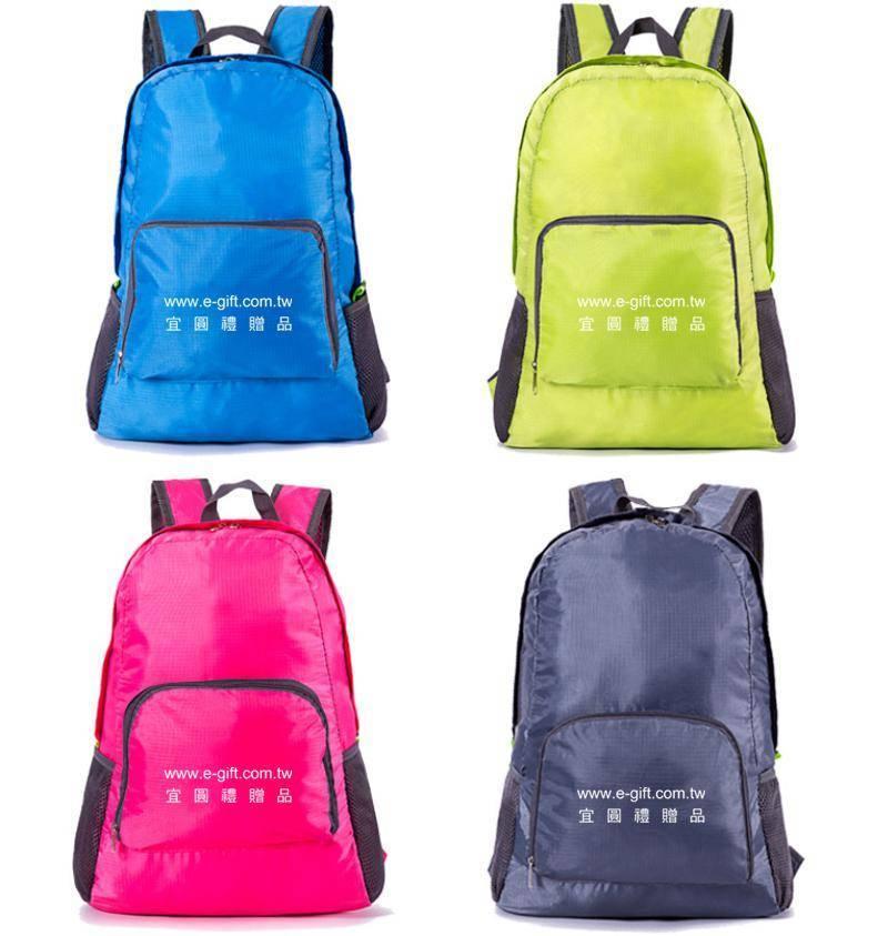 【E-gift】輕便折疊雙肩背包旅行包(藍/綠/玫紅/灰)