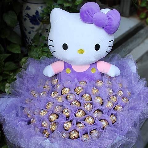 《浪漫風情》代購kitty玩偶+99朵金莎巧克力花束