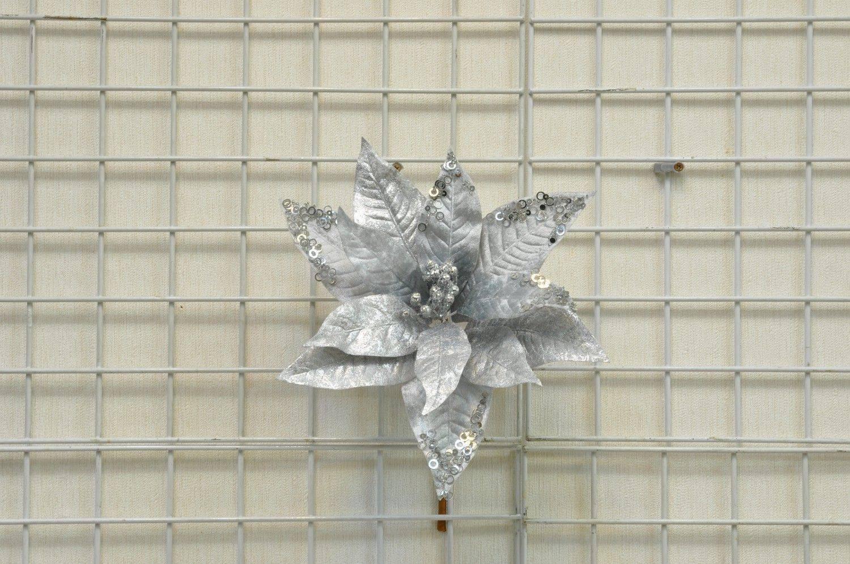 銀色聖誕花圓型亮片