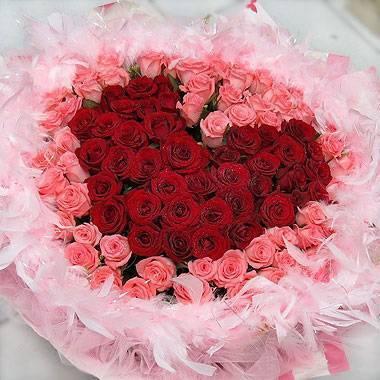 《愛你的心》99朵心型紅玫瑰+粉玫瑰花束