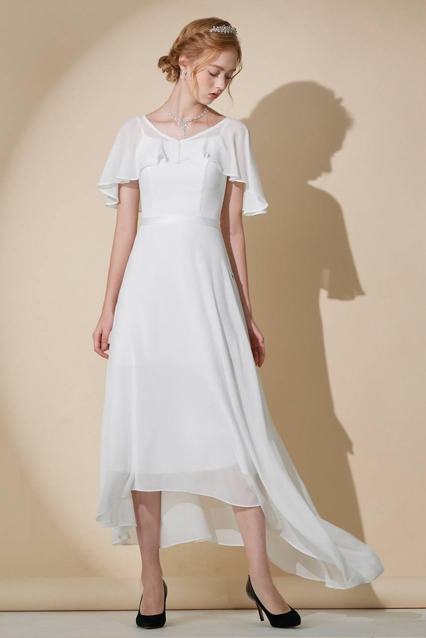 訂製款雪紡前短後長白色禮服【19-2028】---訂製期35天