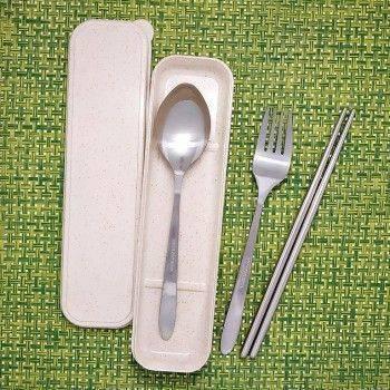 Lohogo 環保餐具套裝 不銹鋼叉子,湯匙,筷子旅行4件套 戶外便攜式餐具 筷+匙+叉+防塵盒
