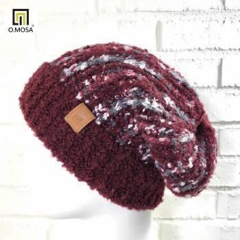 O.MOSA 羊毛多彩段染條紋圈圈可機洗快乾針織帽(酒紅)