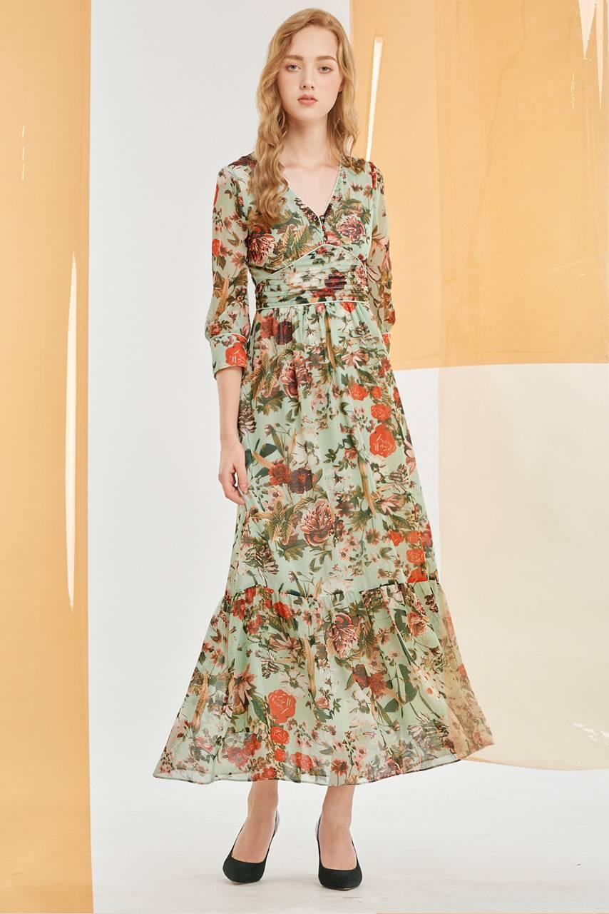 V領印花雪紡婚宴綠色長洋裝【60-6851】