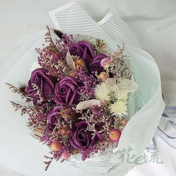 《心蕩漾》紫玫瑰皂花+粉彩乾燥花束