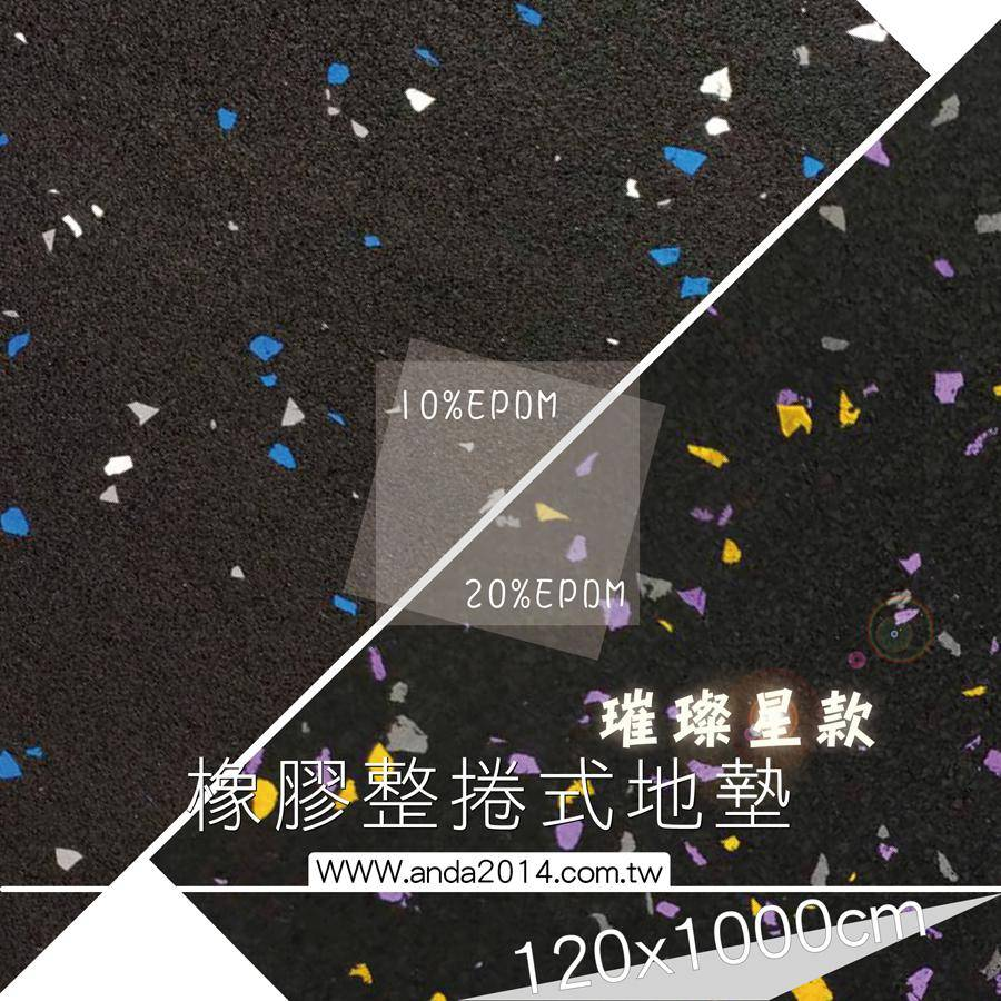 【健身房專用】多功能-整捲式橡膠地墊 璀璨款